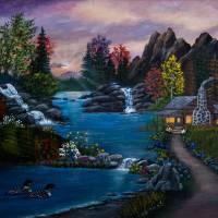 Loonie Sunset Art Prints & Posters by leslie collins