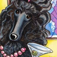 """Standard Black Poodle Ready to Mingle"" by OffLeashArt"