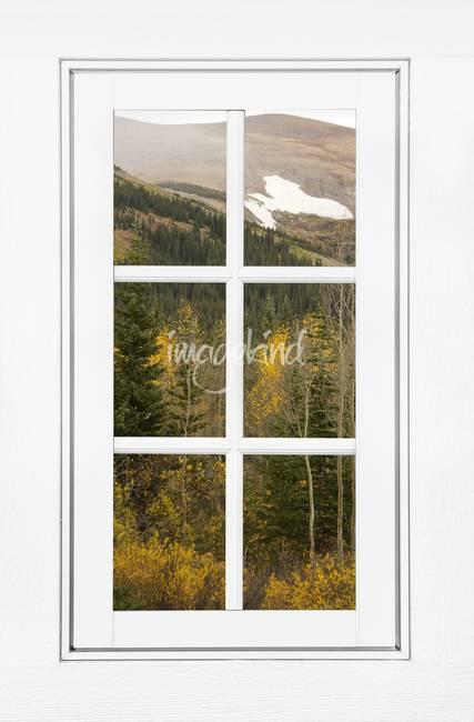 Autumn Rocky Mountain Glacier View White Window