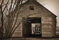 Iowa Hay Wagon in Barn by Kirt Tisdale