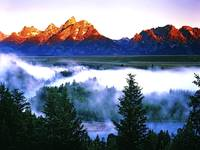 Sunrise on Grand Tetons Mountains from Snake River