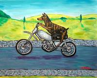 Dobertman Riding a Motorcycle