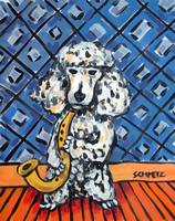 Poodle Playing the Saxophone