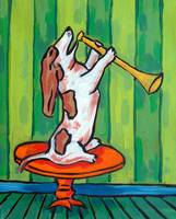 Basset Hound Playing a Horn