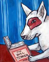 bull terrier at the Library