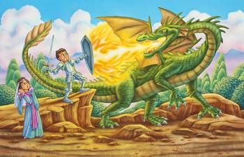 Dragon Knight Fighting Dragon Knight And Princes By Phil