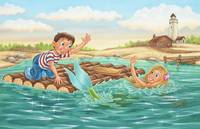 Mermaid, boy on raft, boy, princess, light house,