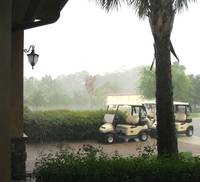 Heavy rain after golf