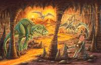 Boy, dinosaur, lava, middle earth, indiana jones,
