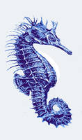 blue vintage seahorse- left facing