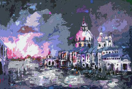 Abstract Modern Venice Paintings Grand Canal by Ginette Callaway
