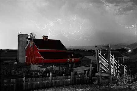 Red Barn On The Farm and Lightning Thunderstorm BW