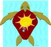 Stylized Sea Turtle with Sun