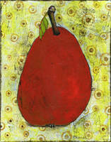 Red Pear on Circles Art