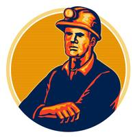Coal Miner Arms Folded Retro