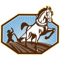Farmer and Horse Plowing Farm Retro