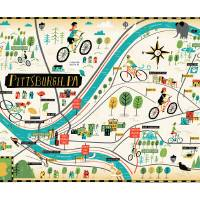 """Pittsburgh Bike Map by Bicycle Times"" by TheyDrawandCook"