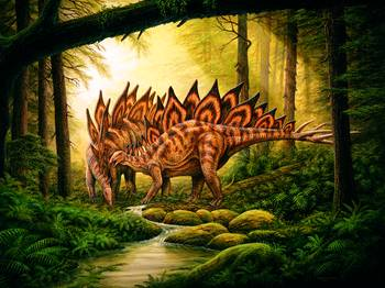 Stegosaurus Amp Mate In Forest By Phil Wilson
