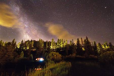 Pop Up Camper Under The Milky Way Sky