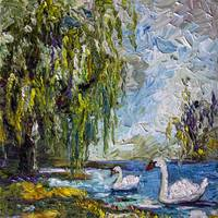 Willow Tree and Swans Summer Impression