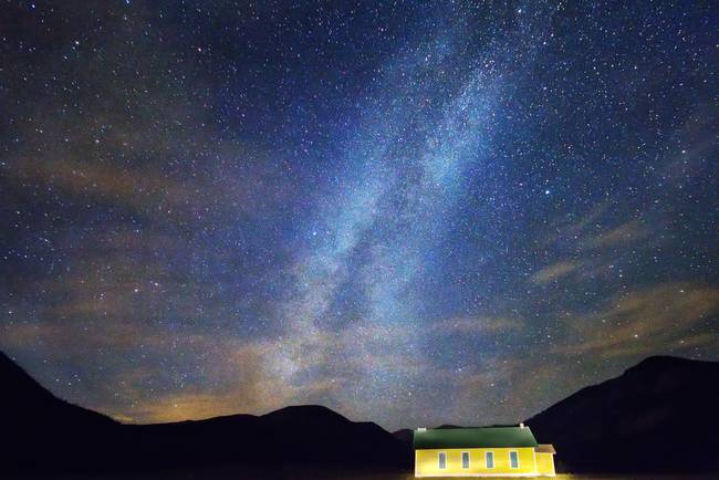 Classic Old Yellow School House Milky Way Sky