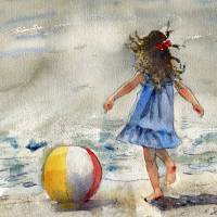 """Beach Girl, watercolor landscape painting"" by schulmanart"