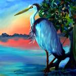 Fred The Blue Heron Crane by Kris Courtney