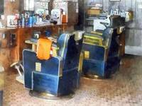 Barber Chair With Orange Barber Cape