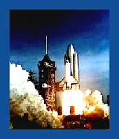 Columbia Shuttle Launch Blue Border