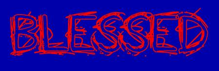 blessed grunge outline red on blue