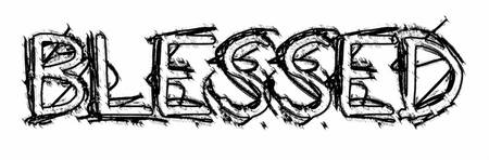 blessed grunge outline crosshatch
