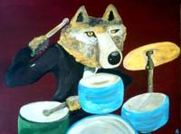 Dire Wolf Playing the Drums