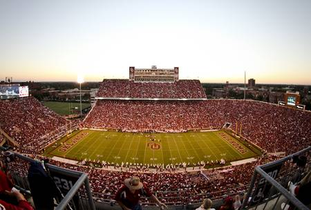 Example of Oklahoma stadium in perspective on angled canvas