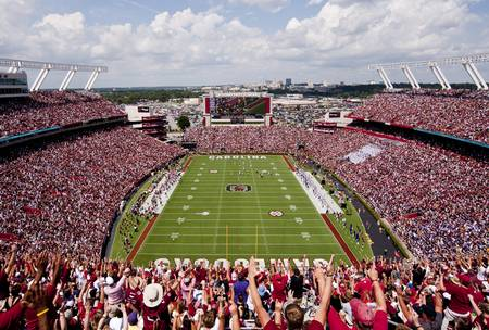 Example of South Carolina stadium in perspective on angled canvas
