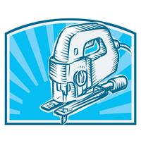 Jigsaw Power Tool Woodcut Retro