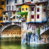 Small Balcony on Ponte Vecchio, Florence, Tuscany,