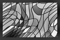 Stained Glass Abstract Decorative w Border B&W