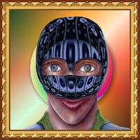Face With Helmet and Special Effects Background