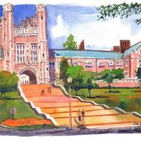 """Brookings Hall, Washington University, St Louis"" by michaelandersonartprints"