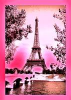 Eiffel Tower Paris France Enhanced Pink with borde