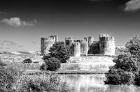 Caerphilly Castle 7 Monochrome
