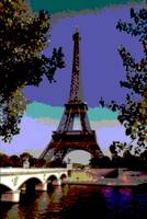 Decorative Eiffel Tower Seine River Enhanced