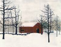 ORIGINAL PAINTING RED BARN AND SNOW MARYLAND
