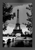 Eiffel Tower Seine River Bridge Enhanced w/ border