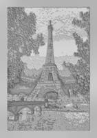 Eiffel Tower B&W Abstract Decorative w border