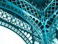 Eiffel Tower Paris France Inside Detail Arch Blue