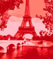 Abstract Decorative Salmon Eiffel Tower Enhanced C
