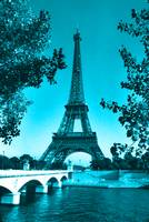 Eiffel Tower Seine River Blue