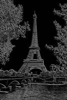 Eiffel Tower Seine River Charcoal Negative