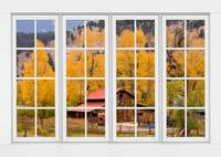 Rocky Mountain Autumn Ranch White Window View